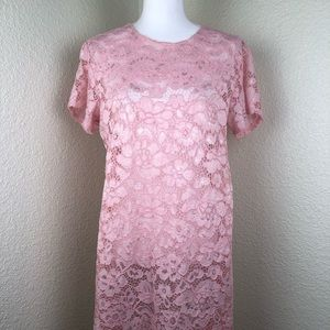 Burberry Brit Pink Lace Floral Long Dress Size XXL